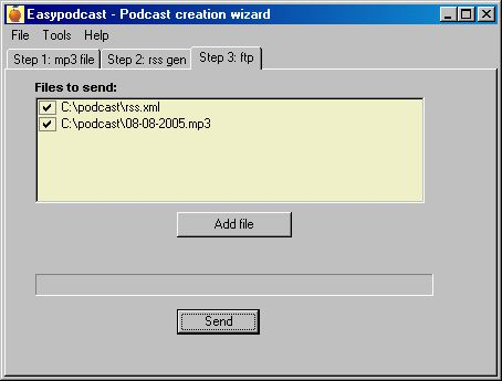 Step 3: FTP Uploader for needed files (mp3 + rss)